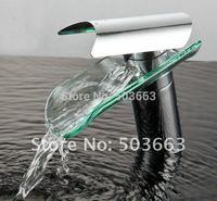 Beautiful Free Ship Faucet Glass Waterfall  Bath Basin Mixer tap   CM00055