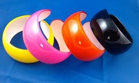 Free shipping 12pcs/Lot Fashion women's colorful 3.5cm wide acrylic cuff bangles bracelet plastic