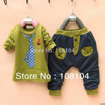 Free shipping, children wear fake Tie Set spring summer autumn clothes pants children full set(yu3013001)