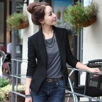 2014 New Spring Women's Business Coat Turn down Collar Black One Button Slim Suit Jacket Plus Size Blazer Coat Suit Clothing