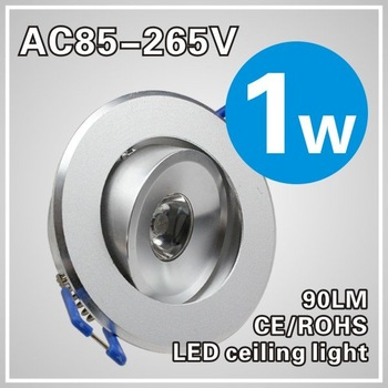 1W LED Recessed led Ceiling light Cabinet Lamp silver shell 85-265v down light+ driver +free shipping 10pcs/lot