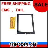 For iPad 2 touch screen digitizer ipad2 glass with free sticker by free shipping EMS or DHL ,10pcs/lot