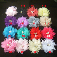 "2"" 15 Colors Tulle Flowers With Rhinestone Centered chiffon Flower For Hair Accessories 200Pcs"