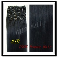 "1B#,natural Black,CLIP IN ON BRAZILIAN HUMAN HAIR EXTENSIONS,15"",18""20""22"" 7pcs,70g"