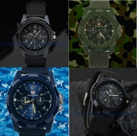 UPS/DHL Free Shipping,100 Pcs/Lot,Black Color Military Army Pilot Fabric Strap Sports Men Watch Military Watch Gemius Army Logo