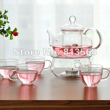 600ml glass coffee pot / glass tea set with 4 cups + warmer + 5 candles, Free Shipping