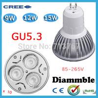 Factory directly sale 10pcs/lot CREE Bulb led bulb GU5.3 9w 12w 15w 85-265V Dimmable led Light led lamps spotlight free shipping