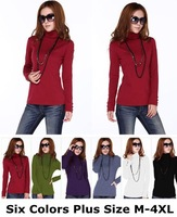 6 Candy Colors Discounted Plus Size Ladies Turtleneck Long Sleeve Lycra Cotton Spring Autumn Winter Basic T-Shirts Size M-4XL