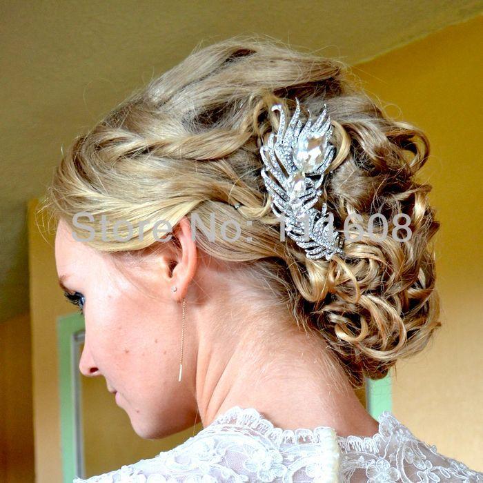 Bridal Hair accessories Wedding Hair Comb Bridal Rhinestone Crystal Feather Hair Comb Bridesmaid Jewelry FSE05038C1(China (Mainland))