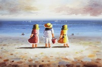 Oil Painting Girls 100% By Hand Pictures for Kids Water Decor Wholesale Price Blue Sky