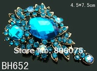 wholesale fashion vintage jewelry Zinc alloy rhinestone flower pendant Brooches Free shipping 12pcs/lot Mixed colors  BH652