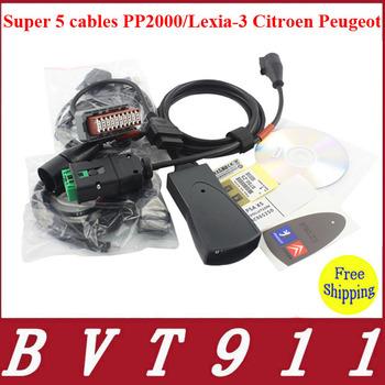 2014 Superior Quality 5 cables PP2000/Lexia-3 Citroen Peugeot lexia3 Free Shipping 100% Original Lexia3 Peugeot/Lexia-3 Citroen