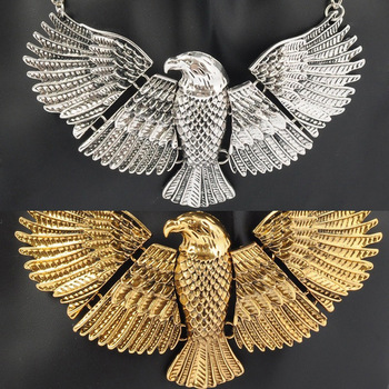 [Mix 15USD] Vintage Big Flying Eagle Hawk Egypt Statement Chunky Choker Collar Bib Necklace Antique Gold or Silver hot sale