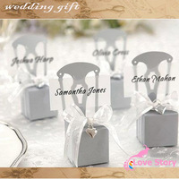2013 100pcs/lot sliver and gold Chair wedding box , Favor box(with Ribbon , bells and PVC name card)(NO letter in the box)