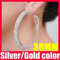 (52% off on wholesale) 30mm Double Rows Basketball Wives Rhinestone Hoop Earrings Crystal Cubic Zirconia Hoop Earrings F1