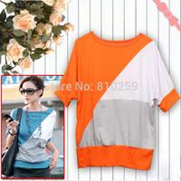 008 free shipping 2014 summer women new fashion short sleeve irregular batwing t shirts loose cotton shirts dress tops blouse