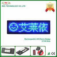 Moving LED Name Badge Scrolling Sign Board Programmable Text Recharageable Blue Edit by PC 12*48 Dots 5pieces/lot Free Shipping