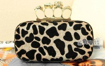 , Ring Leopard Print Shoulder Skull Clutch Bag Handbag with Chain Purse wristlet Bags ...