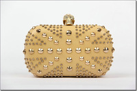 free shipping 2013 Famous designer luxury gold evening bag Punk skull rivet rhinestones clutches UK flag party bags
