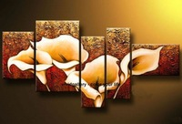Framed Oil painting 150cmx80cm Hand-painted Canvas Brown Beige Calla Lily Flowers/wall art CQ061