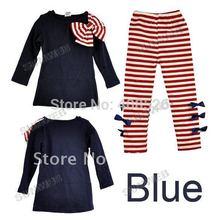 Retail 2014 NEW Children spring autumn 2 Colors Set girls clothing baby girls Clothing sets shirt +pants Roupa Infantil B26 7472(China (Mainland))