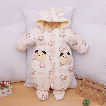 1pcs(0-1Y)Children Newborn Infant Baby Boys Girls Rompers For winter, Cotton Padded 3 layers Fleece Jumpsuit Bodysuit