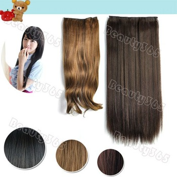 New Long Black Brown Clip in Curly Wavy / Straight Synthetic Hair Wig Hairpiece 3 Colors Available 5213