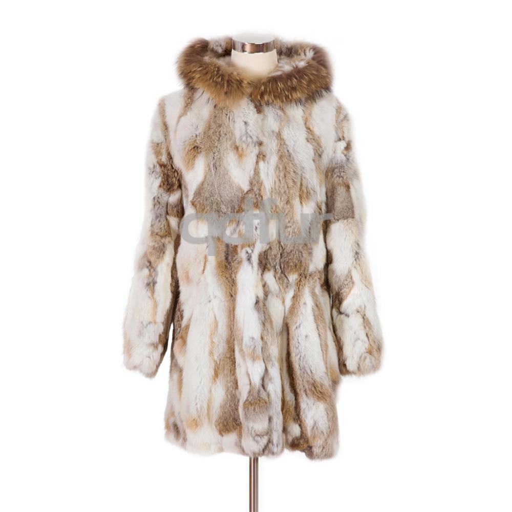 QD6345 Women Fashion Genuine Rabbit Fur Coat with Raccoon Fur Hoody Long style Outwear Garment Female Clothes free shipping(China (Mainland))
