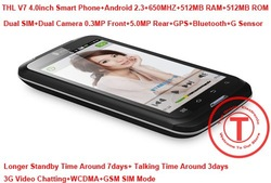 Newly 4.0inch THL V7 MTK6573 650MHZ Android 2.3.5 Smart Phone with GPS,Bluetooth,Wifi,3G,Dual SIM,Dual Camera(China (Mainland))