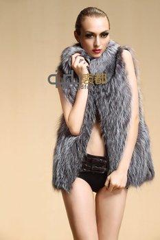 Lady Natural Sliced Silver Fox Fur Vest  Winter Female Genuine fur Waistcoat Gilets Women Fur Outerwear Coats Jacket QD6365