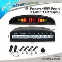 In Stock 6 Parking Reversing Sensors 3 Color LED Display System Indicator BiBi Sound Alarm Ultrasonic Sensors Silver