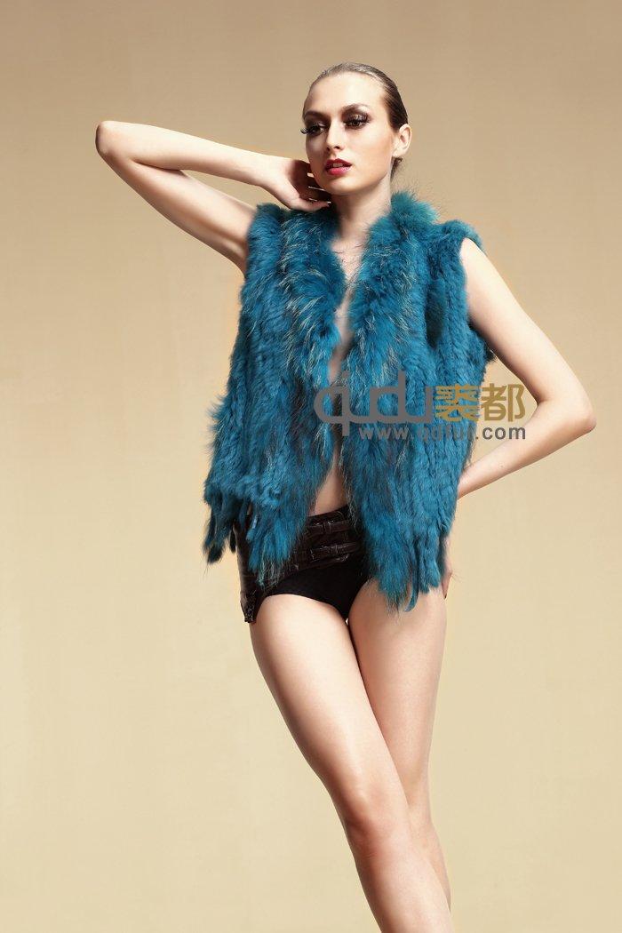 2014 Women Genuine Real Knitting Rabbit Fur Vest Raccoon Fur Collar Winter Slim Waistcoat Colete Pele Outerwear CoatsQDMJ002(China (Mainland))