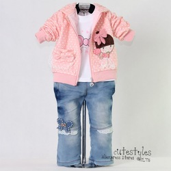 2012 New Christmas Light Pink Lace Baby Clothing Set 3Pcs: Girl Outfit and T Shirt and Jeans Wholesale Clothing Kid's Wear(China (Mainland))