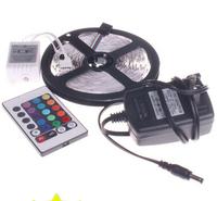 (10pcs/lot)Waterproof 5 Meter(5M) 12V SMD 3528 RGB LED Strip light Flexible 300 leds LED Ribbon tape+Remote control+Power supply