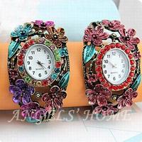 2014 New Watch Bracelet Fashion Crystal Flower Alloy Charm Luxury Bracelets Wristwatch AM035