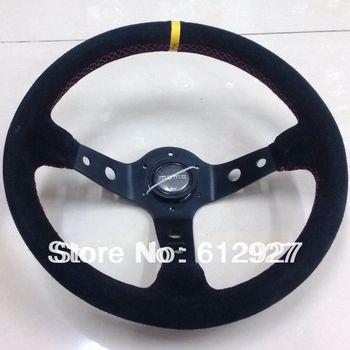 """14"""" MOMO Steering Wheel Suede Leather  Steering Wheel 350MM Steering Wheel MOMO Racing Steering Wheel Suede Leather"""