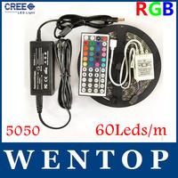 5M SMD 5050 RGB 300Leds LED Flexible Strip Light and 44key IR Remote and 12V 6A Power Supply EU US UK AU 60leds/m
