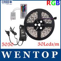 5M SMD 5050 150Leds RGB LED Strips and 44 Key IR Remote Control and 12V 3A Power Supply US/EU/UK/AU Warm white Yellow  30Leds/m