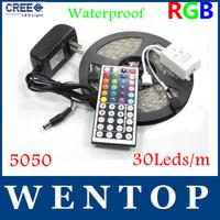 Waterproof 5M RGB 5050 SMD150 LED Strips Light and 44 Key IR Remote Control and 12V 3A Power Supply US/EU/UK/AU