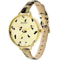 Hot Selling Famous Brand Watch JULIUS Fashion Women's Wrist Watch,Quartz Round Fashion, Leopard Leather Watch,High Quality 254