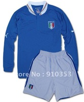 Drop  Shopping! 2012-2013  Italy EURO blue  Long Sleeve Soccer Jerseys Original Logo  soccer uniforms soccer kits