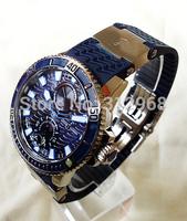 ETA movement blue face sailing marine luminous transparent  eta men wrist watch  factory wholesale