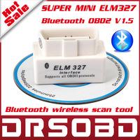 Best Quality SUPER White MINI ELM327 Bluetooth OBD2 V2.1 Professional OBDII Car Diagnostic interface ELM 327 Free Shipping