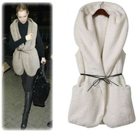Wholsale 2012 New Autumn And Winter Women's  large size warm hooded vest/the lambs wool Waistcoat ,Free Shipping