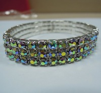 NEW Popular 3 rows AB crystal streched bracelet stretched  rhinestone crystal AB fashion bracelet BG114920