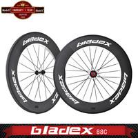 BladeX PRO T/T CARBON CLINCHER WHEELS 488C - 88mm Triathlon Time Trial Wheels;Ceramic Bearings; Basalt Surface; Bicycle Wheel