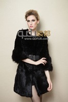 2013 Hot Selling Genuine rabbit fur Coat winter garment overcoat with fox fur trim collar Free shipping QD21767