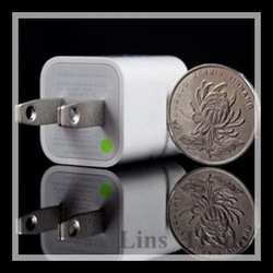 Free shipping New 5PCS/Lot USB Green point travel charger Double IC for iphone 4 4s 5 3GS ipad 1 2(China (Mainland))