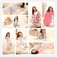 Free shopping 1pcs 24color Satin long-sleeve shirt temptation women's sexy sleepwear /girls silk nightgowns/lingerie sexy