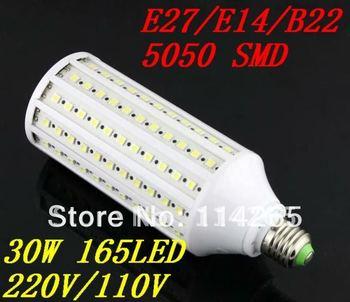 E27 E14 B22 165 LED 30W Cold/warm White 110V/220V Corn Light lamp 25w 15w 12w 9w 6w SMD 36/44/60/86/132 LED 5050